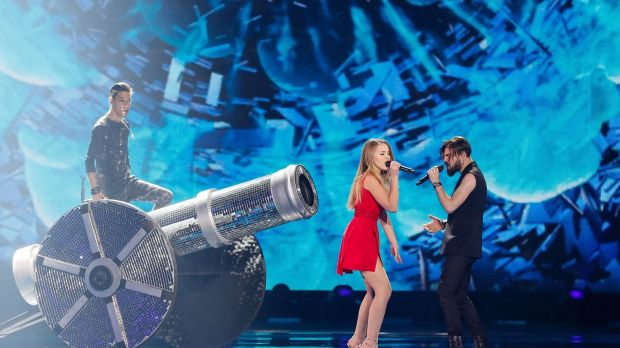 Ilinca and Alex Florea from Romania perform the song 'Yodel It!' during rehearsals. Photogrpah: Sergey Dolzhenko/EPA