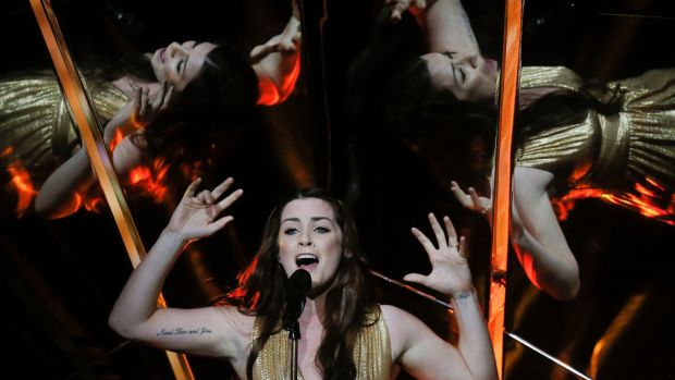 "United Kingdom's Lucie Jones performs the song ""Never Give Up on You"" during rehearsals. Photograph: Efrem Lukatsky/AP"