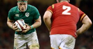 Jamie Heaslip: the Ireland number eight is in contention to travel to the US and Japan. Photograph: Dan Sheridan/Inpho