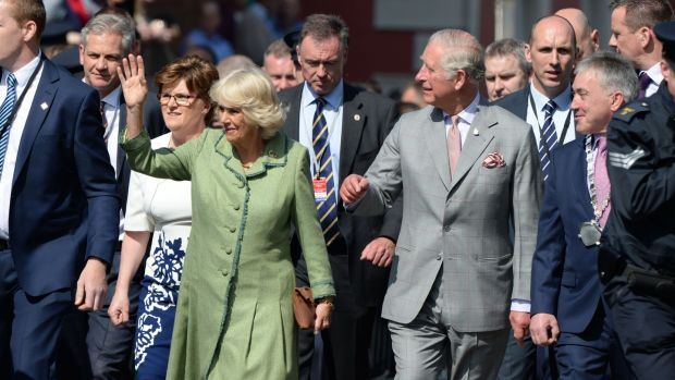 Prince Charles and his wife Camilla Duchess of Cornwall during their visit to Kilkenny Castle. Photograph: Dara Mac Dónaill/The Irish Times