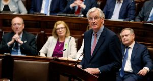 Michel Barnier, the EU's chief Brexit negotiator, addressing TDs and Senators. Photograph: Maxwell