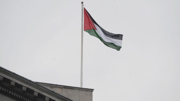 The Palestinian Flag flies over Dublin City Hall. Photograph: Aidan Crawley