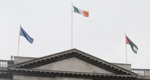 The Palestinian Flag flies over Dublin City Hall along side the tricolour and the flag of the European Union. Photograph: Aidan Crawley