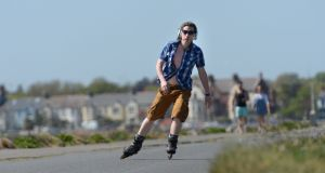 Rollerblading on the Bull Wall, Dollymount, Dublin. There will be little rollerblading taking place in the coming days. Photograph: Dara Mac Dónaill