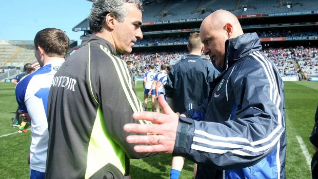 McGuinness and Malachy O'Rourke shake hands after Monaghan beat Donegal in the 2014 league final. Photo: Donall Farmer/Inpho