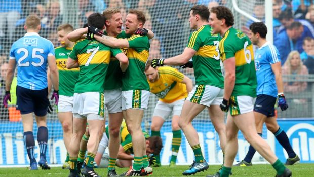 Kerry's Paul Murphy, Gavin Crowley and Darran O'Sullivan celebrate after beating Dublin to win the league final. Photo: James Crombie/Inpho