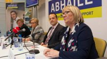 Abhaile chairperson Ita Mangan, Minister for Justice Frances Fitzgerald, Minister for Social Protection Leo Varadkar  and Abhaile chief executive Angela Black.