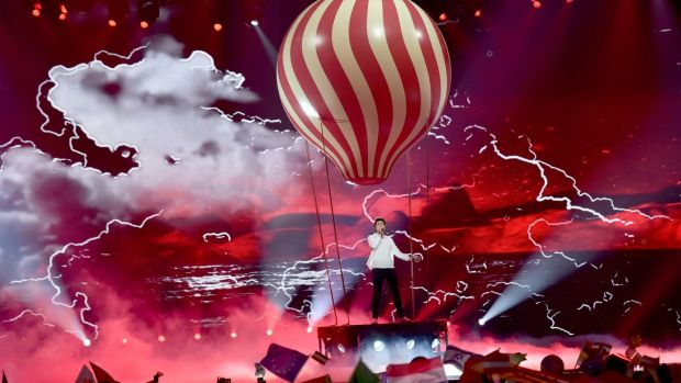 "Ireland's Brendan Murray performs with the song ""Dying to Try"" during the second semi-final on Thursday in Kiev."