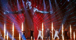 "Israel's IMRI performs with the song ""I Feel Alive"" during a dress rehearsal on Friday for the Eurovision final at the International Exhibition Centre in Kiev. Photograph: Gleb Garanich/Reuters"