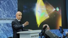 Scientist and investor Yuri Milner  speaks during the New Space Exploration Initiative 'Breakthrough Starshot' announcement  last year in New York. Photograph: Jemal Countess/Getty Images