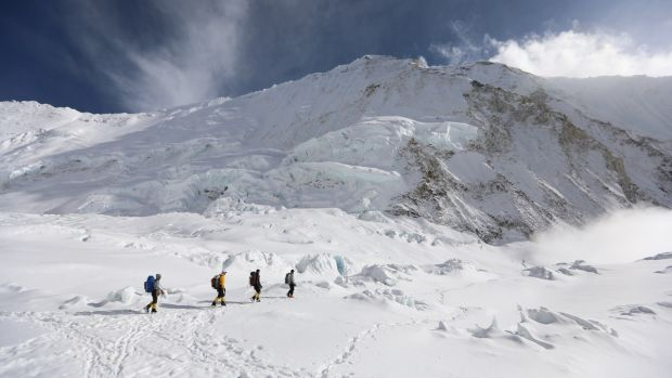 Rory McHugh and fellow climbers head back towards base camp.