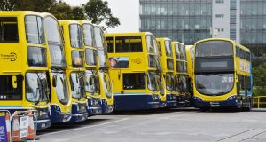 "Dublin Bus buses at Conyngham Road:  ""A lot of our bus routes date from, and are based on, the route of the old trams,"" a spokesman for the National Transport Authority said.  Photograph: Alan Betson"