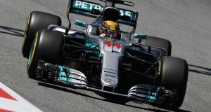 Mercedes driver  Lewis Hamilton  on track during practice for the Spanish Formula One Grand Prix at Circuit de Catalunya in Montmelo, Spain. Photograph: Mark Thompson/Getty Images