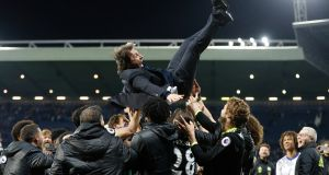 Antonio Conte's Chelsea were crowned champions after a 1-0 win at West Brom. Photograph: Carl Recine/Reuters