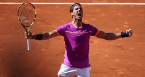 Rafael Nadal beat Novak Djokovic in straight sets to reach the Madrid Open final. Photograph: Sergio Perez/Reuters