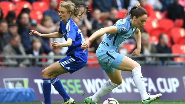 Megan Campbell of Manchester City in action against Ellie Brazil of Birmingham City Ladies during the SSE Women's FA Cup Final at Wembley Stadium. Photograph: Ross Kinnaird/Gerry Images