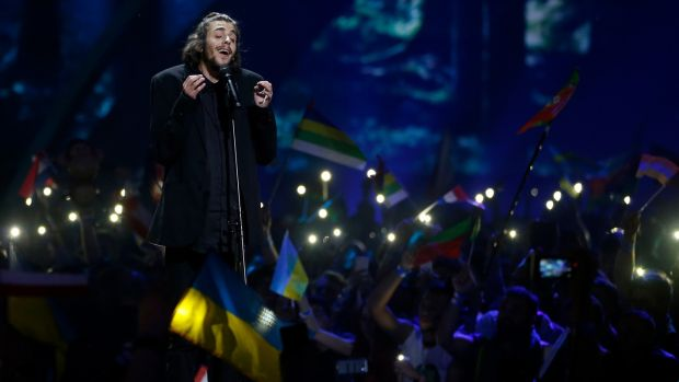 Singer Salvador Sobral, representing Portugal, performs the song 'Amar Pelos Dois' during the final of the 62nd Eurovision song contest in Kiev. Photograph: Michael Campanella/Getty Images