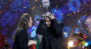 Portugal's Salvador Sobral celebrates with his sister Luisa after winning  the Eurovision song contest  in Kiev, Ukraine. Photograph: Gleb Garanich/Reuters