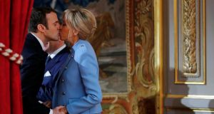 Emmanuel Macron and Brigitte Trogneux: Irish women in their 40s increasingly seek out younger men to date. Photograph: Philippe Wojazer/Reuters