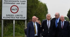 European Union chief negotiator for Brexit Michel Barnier (second from left) visiting the Border last week. Photograph: Clodagh Kilcoyne/Reuters