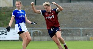 Westmeath's Leona Archibold celebrates scoring a goal in the Lidl Ladies National Football League Division 2 final replay against Cavan. Photograph: Donall Farmer/Inpho