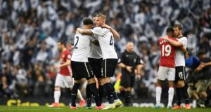 Toby Alderweireld and Kyle Walker celebrate after Tottenham's 2-1 win over Manchester United in the final fixture at White Hart Lane. Photograph: Dylan Martinez/Reuters