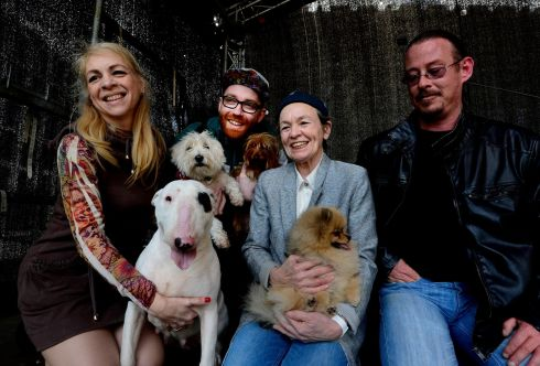 DOG DAY: Laurie Anderson and friends after her  concert, Music for Dogs, at the National Concert Hall. Photograph: Cyril Byrne