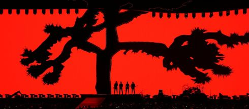 U2 ON TOUR: The band on stage during the opening concert of their global The Joshua Tree Tour 2017 in Vancouver, Canada. Photograph: Reuters