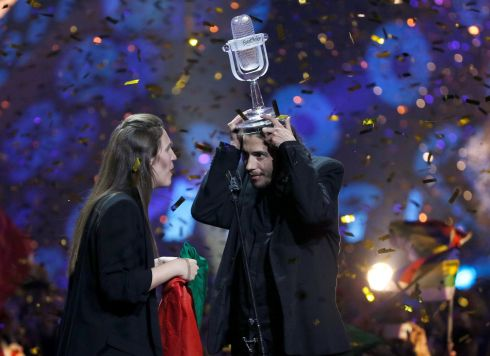 EUROVISION WINNER: Portugal's Salvador Sobral celebrates after winning the grand final at the International Exhibition Centre in Kiev, Ukraine. Photograph: Reuters