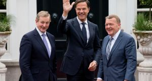 Enda Kenny with Danish prime minister Lars Løkke Rasmussen and  Dutch prime minister Mark Rutte in The Hague last  month. File photograph: Peter Dejong/AP Photo