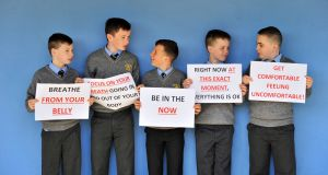 """All you need is to be able to breathe"": Jay O'Mahony, Daragh McNally, Jack Foley, Mark Kenefick and Ryan Sharpe of Scoil Cholmcille, Blarney Street, Cork. Photograph: Daragh McSweeney/Provision"