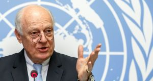 Staffan de Mistura, the UN special envoy for Syria,  before the resumption of negotiations between the Syrian government and the opposition,  in Geneva, on Monday. Photograph: Salvatore Di Nolfi/EPA