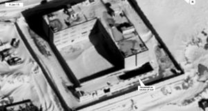 A satellite image taken in January 2015 of what the US says is a building modified to support a crematorium in Syria. Photograph: State Department/DigitalGlobe/AP