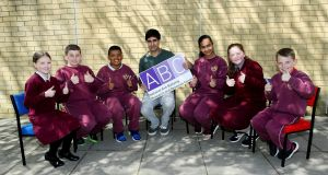 International cyberbullying expert Dr Sameer Hinduja with pupils from the Virgin Mary National Schools in Ballymun Dublin. Photograph: Maxwells.