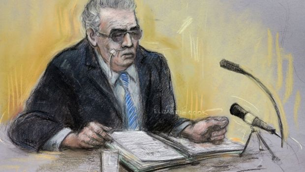 A court artist sketch of moors murderer Ian Brady appearing via video link at Manchester Civil Justice Centre in June 2013. Photograph: Elizabeth Cook/PA Wire