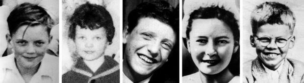 The victims of moors murderer Ian Brady, who has died in hospital. (From left) John Kilbride, 12, 10-year-old Lesley Ann Downey Edward Evans, 17, Pauline Reade, 16, and 12-year-old Keith Bennett. Photograph: PA Wire