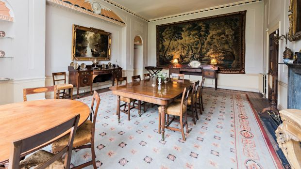 The dining room at Galtrim house has many architectural details