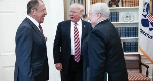 A file  photograph made available by the Russian foreign ministry shows US president Donald Trump  speaking with Russian foreign minister Sergei Lavrov (left) and Russian ambassador to the US Sergei Kislyak during their meeting in the White House in Washington. Photograph: EPA/Russian foreign ministry