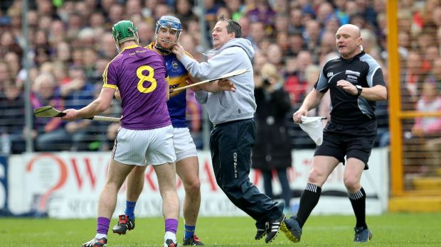 Davy Fitzgerald gets physical. Photograph: Inpho/ryan Byrne
