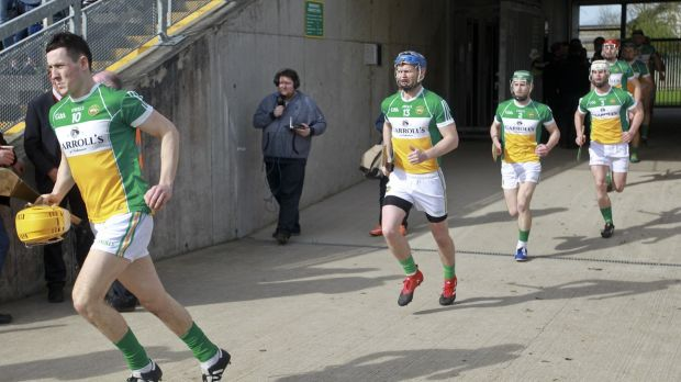 Offaly team emerges on to O'Connor Park, Tullamore. Photograph Inpho/John Kelly