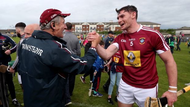 Westmeath manager Michael Ryan with Aaron Craig. Photograph: Inpho/bryan Keane
