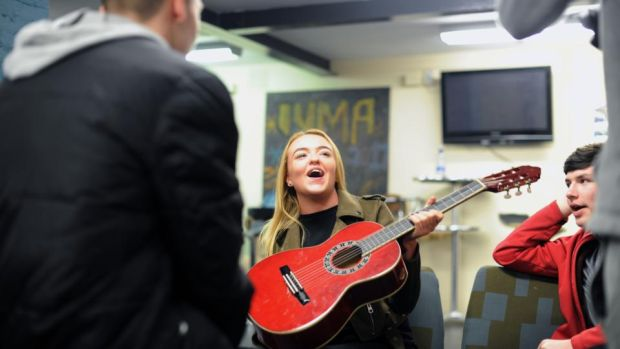 Jessica Kirwan (17) at the Swan youth services music group in the Swan Centre in Ballybough, Dublin. Photograph: Aidan Crawley