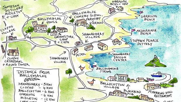 The local area surrounding Ballymaloe House and Cookery School. Illustration: Lydia Hugh Jones