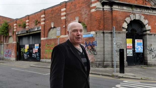 An Taisce's heritage officer Ian Lumley outside the derelict Iveagh Markets in Dublin. Photograph: Cyril Byrne