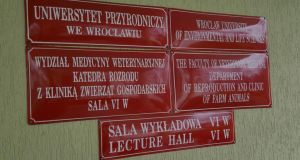 Having recently translated campus signage and the resources in the library to English, The University of Life and Environmental Sciences has gone to some lengths to make the Wroclaw campus more welcoming for international students. Photograph: Éanna Ó Caollaí/The Irish Times