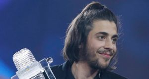 Portugal's Salvador Sobral celebrates after winning the Eurovision Song Contest in Kiev. Photograph:  Gleb Garanich/Reuters