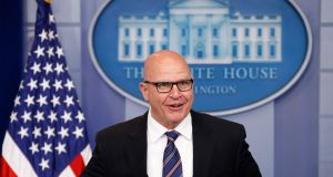 White House national security adviser HR McMaster speaks in  Washington, DC, US. Photograph: Joshua Roberts/Reuters
