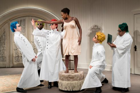 PLAY AWAY: Zainab Jah (centRE) in the play Venus at the Signature Theater, New York, April 23, 2017.  Photograph: The New York Times