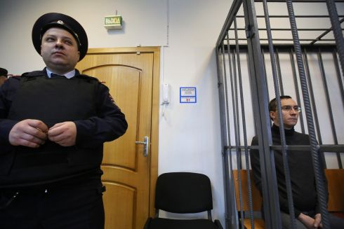 BANKING SKULDUGGERY: Alexei Kulikov, a former shareholder at Promsberbank, in court at Podolsk city. He was arrested in Moscow earlier this month as regulators investigate trades handled by Deutsche Bank AG. Photograph: Reuters