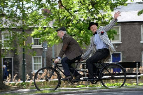 IN TANDEM: Paul Kennedy (as James Joyce) and Jim Wolfe (rally organiser) at the announcment of the 24th annual Brennans Bloomsday Bike Rally & Lunch in aid of the Irish Youth Foundation, which takes place on Friday June 16th to celebrate Joycean Dublin. Photograph: Dara Mac Donaill